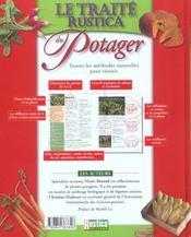 Traite du potager ; toutes les methodes naturelles pour reussir - 4ème de couverture - Format classique