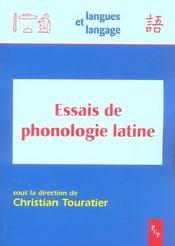 Essais De Phonologie Latine - Intérieur - Format classique