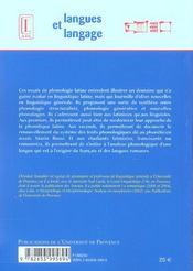 Essais De Phonologie Latine - 4ème de couverture - Format classique
