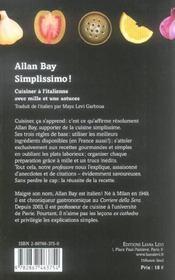 Simplissimo Cuisiner A L'Italienne - 4ème de couverture - Format classique
