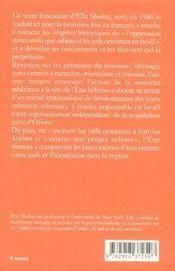 Le sionisme du point de vue de ses victimes juives ; les juifs orientaux en Israël - 4ème de couverture - Format classique
