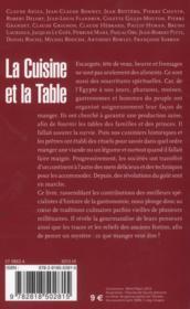 La cuisine et la table - 4ème de couverture - Format classique