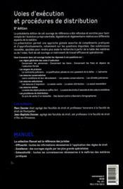 Voies d'exécution et procédures de distribution (9e édition) - 4ème de couverture - Format classique