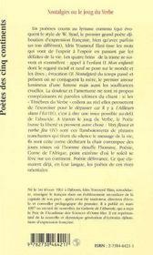 Nostalgies Ou Le Joug Du Verbe - 4ème de couverture - Format classique