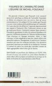 Figures De L'Animalité Dans L'Oeuvre De Michel Foucault - 4ème de couverture - Format classique