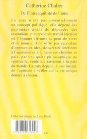 De L'Intranquillite De L'Ame - 4ème de couverture - Format classique