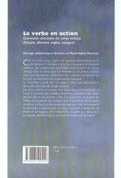 Le Verbe En Action. Grammaire Contrastive Des Temps Verbaux (Francais , Allemand, Anglais, Espagnol) - 4ème de couverture - Format classique
