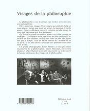 Visages De La Philosophie - 4ème de couverture - Format classique
