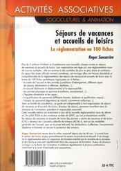 Séjours de vacances et accueils de loisirs ; la réglementation en 100 fiches (6e édition) - 4ème de couverture - Format classique