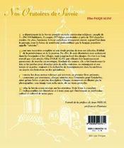 Nos oratoires de savoie t.1 ; beaufortain, tarentaise, val d'arly - 4ème de couverture - Format classique