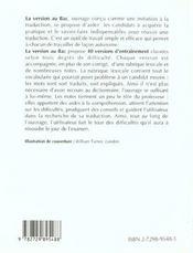 La Version Au Bac Anglais - 4ème de couverture - Format classique