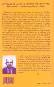 Economie De La Presse Quotidienne Regionale ; Determinants Et Consequences De La Concentration - 4ème de couverture - Format classique