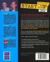 Start-up, relations presse. réussir sa communication - 4ème de couverture - Format classique