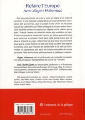 Refaire l'Europe avec Jürgen Habermas ; une approche philosophique - 4ème de couverture - Format classique
