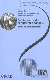 Politique d'aide et recherche agricole ; bilan et perspectives - Intérieur - Format classique