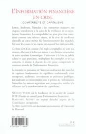 L'Information Financiere En Crise - 4ème de couverture - Format classique