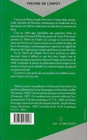 Theorie De L'Impot - 4ème de couverture - Format classique