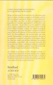 L'obscurantisme postmoderne et la question musulmane - 4ème de couverture - Format classique