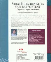 Stratégies Des Sites Qui Rapportent. Gagner De L'Argent Sur Internet - 4ème de couverture - Format classique