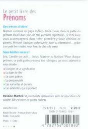 Le Petit Livre ; Les Prénoms (Edition 2006) - 4ème de couverture - Format classique