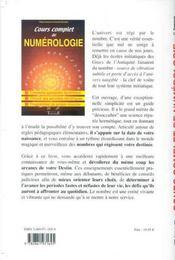 Cours Complet De Numerologie - 4ème de couverture - Format classique