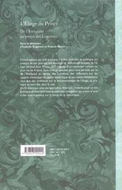 L'Eloge Du Prince. De L'Antiquite Au Temps Des Lumieres - 4ème de couverture - Format classique