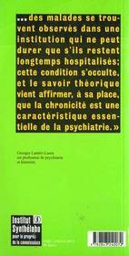 Chronicite En Psychiatrie (La) - 4ème de couverture - Format classique