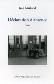Declaration d'absence - Couverture - Format classique