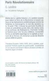Paris révolutionnaire - 4ème de couverture - Format classique