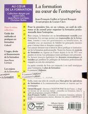 Formation Au Coeur De L Entreprise - 4ème de couverture - Format classique