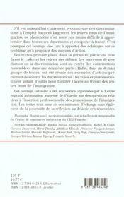 Les Discriminations A L'Emploi ; L'Insertion Professionnelle Des Jeunes Issus De L'Immigration - 4ème de couverture - Format classique