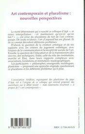 Art Contemporain Et Pluralisme ; Nouvelles Perspectives - 4ème de couverture - Format classique