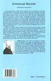 Emmanuel Mounier ; Genese De La Personne - 4ème de couverture - Format classique