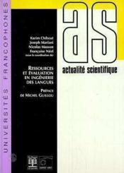 Ressources Et Evaluation En Ingenierie Des Langues - Couverture - Format classique