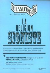 De L'Autre Cote N.3 ; La Religion Sioniste - Intérieur - Format classique