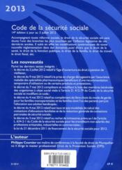 Code de la sécurité sociale ; 2013 - 4ème de couverture - Format classique