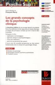 Les grands concepts de la psychologie clinique (2e édition) - 4ème de couverture - Format classique