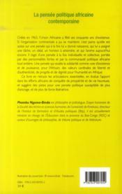 La pensée politique africaine contemporaine - 4ème de couverture - Format classique