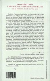 Considérations à propos des discours de Machiavel sur la première décade de Tite-Live - 4ème de couverture - Format classique