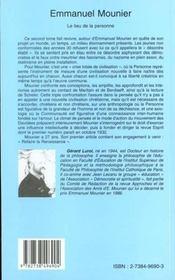 Emmanuel Mounier ; Le Lieu De La Personne - 4ème de couverture - Format classique