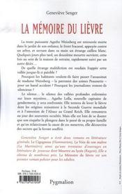 La mémoire du lièvre - 4ème de couverture - Format classique