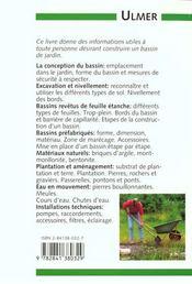Bassin De Jardin (Le ) - 4ème de couverture - Format classique
