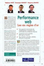Performance Web. Les Six Regles D'Or - 4ème de couverture - Format classique