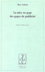 La mise en page des pages de publicite - Couverture - Format classique