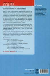Successions et libéralités - 4ème de couverture - Format classique