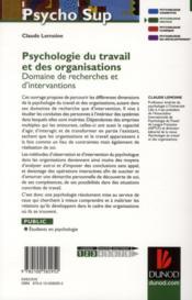 Psychologie du travail et des organisations ; domaines de recherches et d'interventions - 4ème de couverture - Format classique