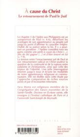 A Cause Du Christ - 4ème de couverture - Format classique