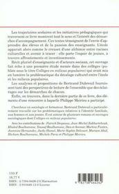 Pedagogie En Milieux Populaires - 4ème de couverture - Format classique
