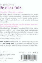 Le Petit Livre De Cuisine ; Recettes Créoles - 4ème de couverture - Format classique