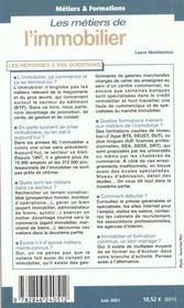 Metiers Et Formations ; L'Immobilier - 4ème de couverture - Format classique